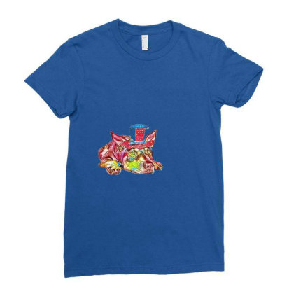 Dog Laying Flat Wearing Red, Ladies Fitted T-shirt Designed By Kemnabi