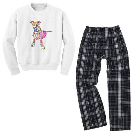 Large Mixed Breed Dog Lying D Youth Sweatshirt Pajama Set Designed By Kemnabi