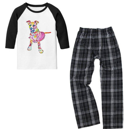 Large Mixed Breed Dog Lying D Youth 3/4 Sleeve Pajama Set Designed By Kemnabi