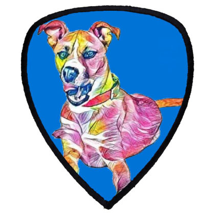 Large Mixed Breed Dog Lying D Shield S Patch Designed By Kemnabi