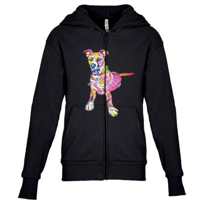Large Mixed Breed Dog Lying D Youth Zipper Hoodie Designed By Kemnabi