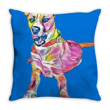 Large Mixed Breed Dog Lying D Throw Pillow Designed By Kemnabi