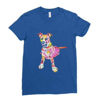 Large Mixed Breed Dog Lying D Ladies Fitted T-shirt Designed By Kemnabi