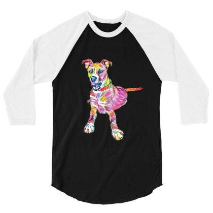 Large Mixed Breed Dog Lying D 3/4 Sleeve Shirt Designed By Kemnabi