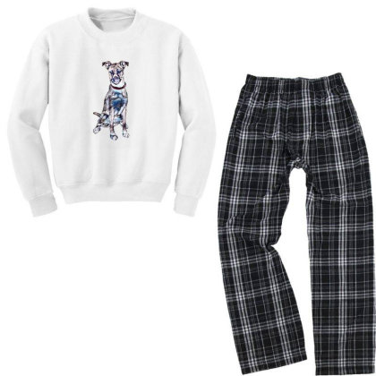 Large Tan And White Dog Sitti Youth Sweatshirt Pajama Set Designed By Kemnabi