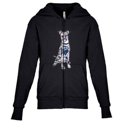 Large Tan And White Dog Sitti Youth Zipper Hoodie Designed By Kemnabi