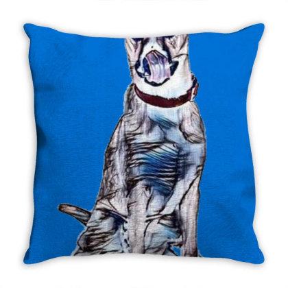 Large Tan And White Dog Sitti Throw Pillow Designed By Kemnabi