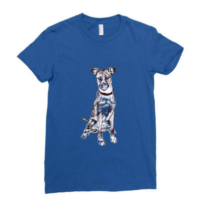 Large Tan And White Dog Sitti Ladies Fitted T-shirt Designed By Kemnabi