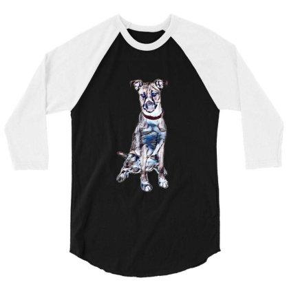 Large Tan And White Dog Sitti 3/4 Sleeve Shirt Designed By Kemnabi
