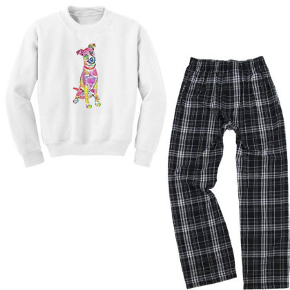 Friendly And Happy Tan And Wh Youth Sweatshirt Pajama Set Designed By Kemnabi