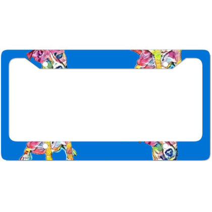 Friendly And Happy Tan And Wh License Plate Frame Designed By Kemnabi