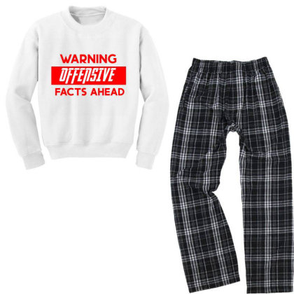 Warning Offensive Facts Ahead Youth Sweatshirt Pajama Set Designed By Cloudystars