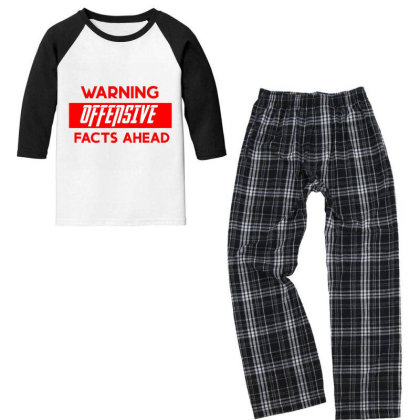 Warning Offensive Facts Ahead Youth 3/4 Sleeve Pajama Set Designed By Cloudystars