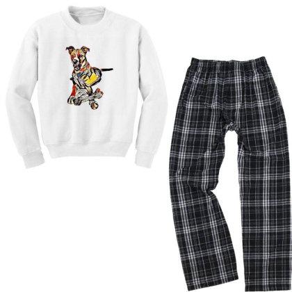Large Dog Laying With A Big C Youth Sweatshirt Pajama Set Designed By Kemnabi