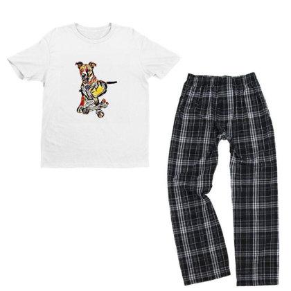 Large Dog Laying With A Big C Youth T-shirt Pajama Set Designed By Kemnabi