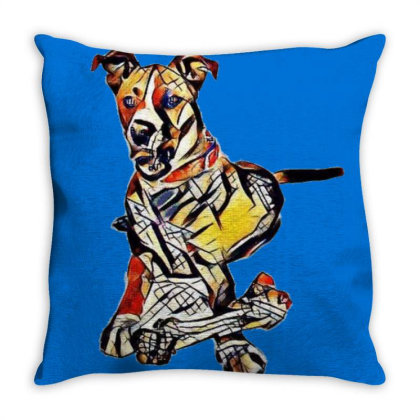 Large Dog Laying With A Big C Throw Pillow Designed By Kemnabi