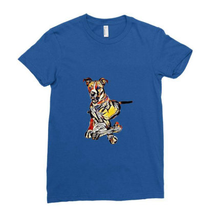 Large Dog Laying With A Big C Ladies Fitted T-shirt Designed By Kemnabi
