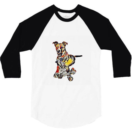 Large Dog Laying With A Big C 3/4 Sleeve Shirt Designed By Kemnabi