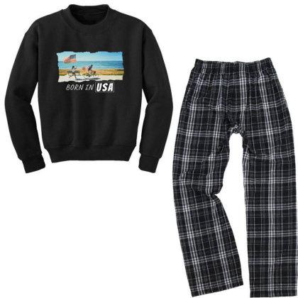 Born In Usa Youth Sweatshirt Pajama Set Designed By Sb T-shirts
