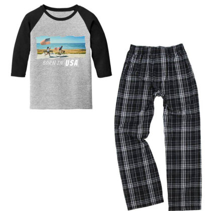 Born In Usa Youth 3/4 Sleeve Pajama Set Designed By Sb T-shirts