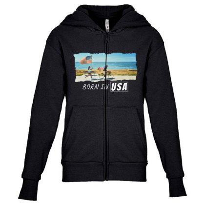 Born In Usa Youth Zipper Hoodie Designed By Sb T-shirts