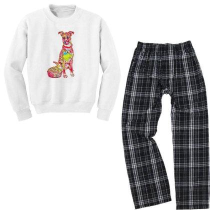 Large Crossbreed Dog Sitting Youth Sweatshirt Pajama Set Designed By Kemnabi