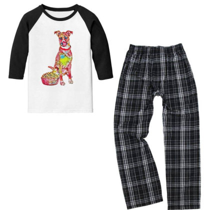 Large Crossbreed Dog Sitting Youth 3/4 Sleeve Pajama Set Designed By Kemnabi