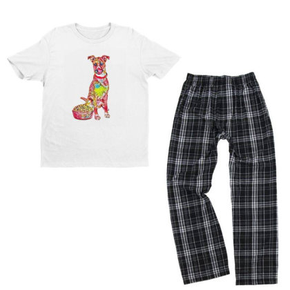 Large Crossbreed Dog Sitting Youth T-shirt Pajama Set Designed By Kemnabi