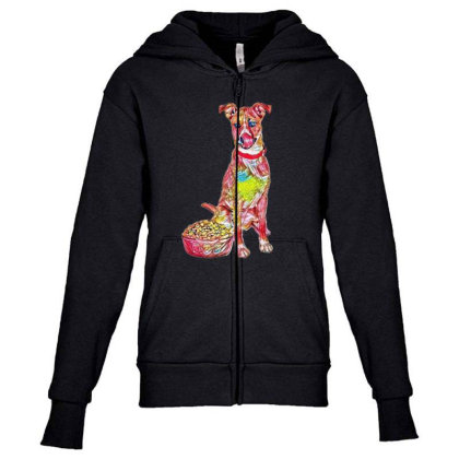Large Crossbreed Dog Sitting Youth Zipper Hoodie Designed By Kemnabi