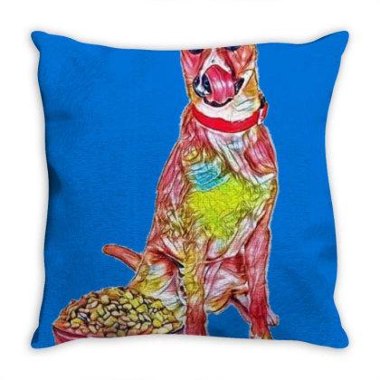 Large Crossbreed Dog Sitting Throw Pillow Designed By Kemnabi