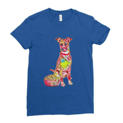 Large Crossbreed Dog Sitting Ladies Fitted T-shirt Designed By Kemnabi