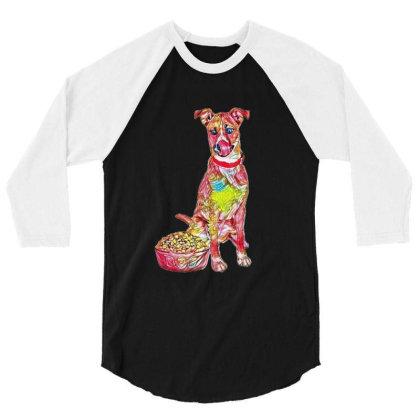 Large Crossbreed Dog Sitting 3/4 Sleeve Shirt Designed By Kemnabi