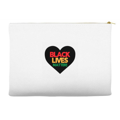 Black Lives Matter Heart Accessory Pouches Designed By Qudkin