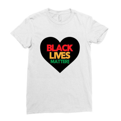 Black Lives Matter Heart Ladies Fitted T-shirt Designed By Qudkin