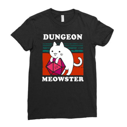 Dungeon Meowster Tee Funny Gamer Cat Dnd Tabletop D20 Men Long Sleeve Ladies Fitted T-shirt Designed By G3ry