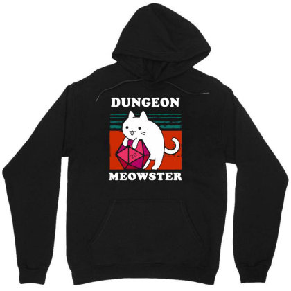 Dungeon Meowster Tee Funny Gamer Cat Dnd Tabletop D20 Men Long Sleeve Unisex Hoodie Designed By G3ry