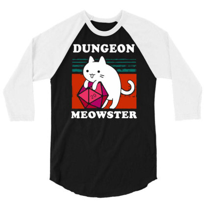 Dungeon Meowster Tee Funny Gamer Cat Dnd Tabletop D20 Men Long Sleeve 3/4 Sleeve Shirt Designed By G3ry