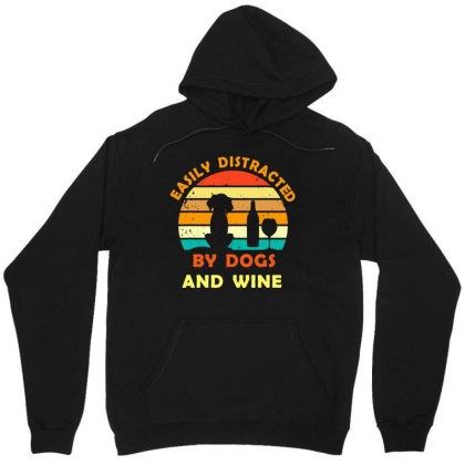 Easily Distracted By Dogs And Wine T Shirt Funny Men's Cotton Tee Unisex Hoodie Designed By G3ry