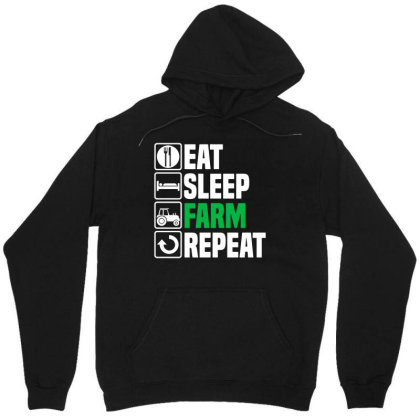 Eat Sleep Farm Repeat T Shirt Funny Farmer Farming Husband Dad Christm Unisex Hoodie Designed By G3ry