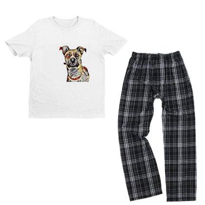 Closeup Of Face Of Happy Tan Youth T-shirt Pajama Set Designed By Kemnabi