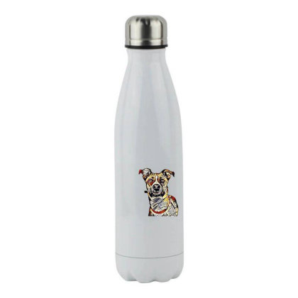Closeup Of Face Of Happy Tan Stainless Steel Water Bottle Designed By Kemnabi