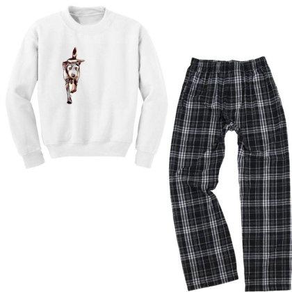 Terrier Dog Running In Yard W Youth Sweatshirt Pajama Set Designed By Kemnabi