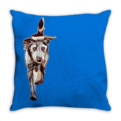 Terrier Dog Running In Yard W Throw Pillow Designed By Kemnabi