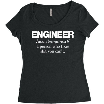 Engineer Mens Funny T Shirt, Gift For Dad Him Women's Triblend Scoop T-shirt Designed By G3ry