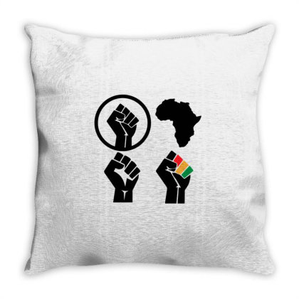 Black Power Throw Pillow Designed By Qudkin