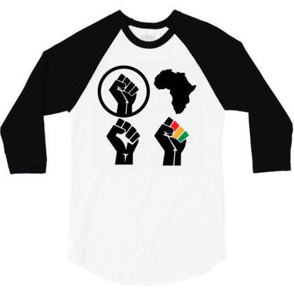 Black Power 3/4 Sleeve Shirt Designed By Qudkin