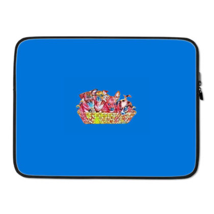 Fur Cute Mixed Breed Puppies Laptop Sleeve Designed By Kemnabi