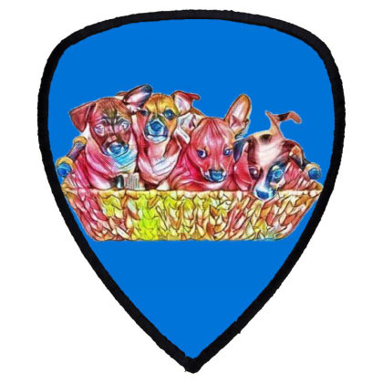 Fur Cute Mixed Breed Puppies Shield S Patch Designed By Kemnabi