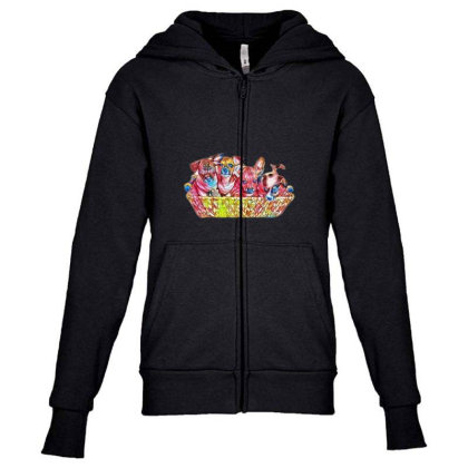 Fur Cute Mixed Breed Puppies Youth Zipper Hoodie Designed By Kemnabi