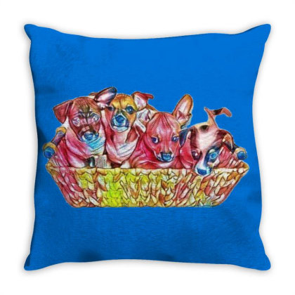 Fur Cute Mixed Breed Puppies Throw Pillow Designed By Kemnabi